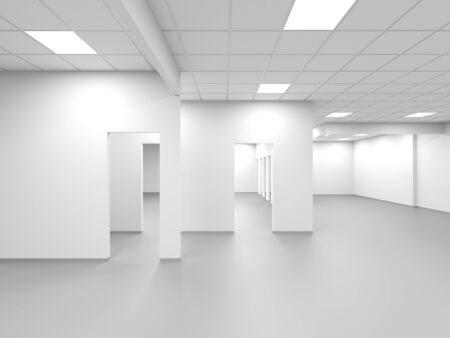 An empty office with white walls and blank doors, abstract interior background, 3d rendering illustration 스톡 콘텐츠