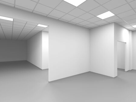 An empty office with white walls, abstract interior background, 3d rendering illustration