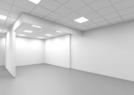Uno sfondo bianco vuoto dell'interno dell'ufficio, illustrazione della rappresentazione 3d