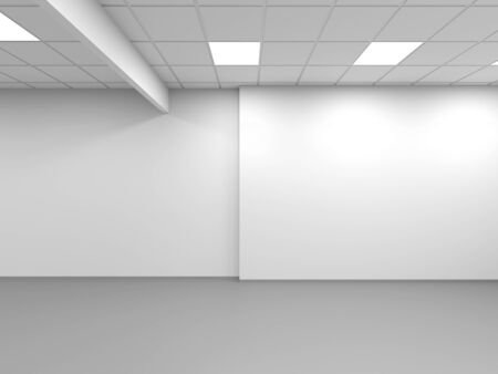 White office empty interior background, 3d rendering illustration