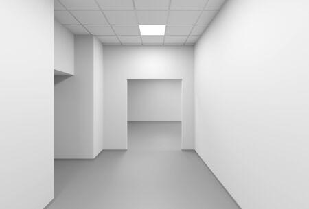 White empty corridor, modern office interior background, 3d rendering illustration