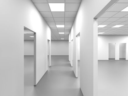 An empty office corridor with white walls and blank doorways, abstract interior background, 3d rendering illustration