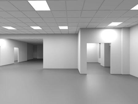 An empty open space office with white walls and sections. Abstract blank interior background, 3d rendering illustration Zdjęcie Seryjne