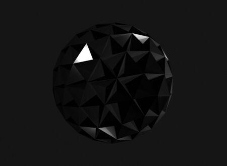 Objeto de cristal triangulado esférico negro brillante aislado sobre fondo gris oscuro, ilustración de renderizado 3d