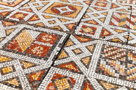 Decorative mosaic floor in Chersonesos, an ancient Greek colony founded approximately 2500 years ago in the southwestern part of the Crimean Peninsula