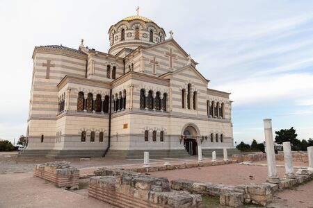 The Saint Vladimir Cathedral exterior, it is a Neo-Byzantine Russian Orthodox cathedral on the site of Chersonesos Taurica, Sevastopol, Crimea