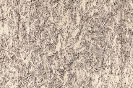 Yellow painted oriented strand board or OSB. Frontal view, flat background photo texture  写真素材