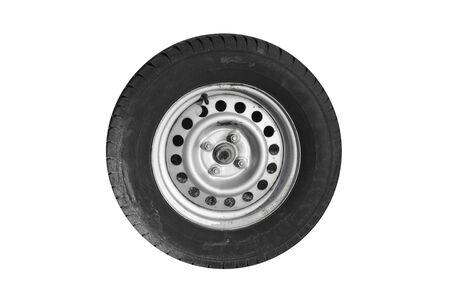 Closeup photo of trailer wheel isolated on white Stockfoto