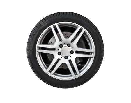 Shiny new car wheel isolated on white