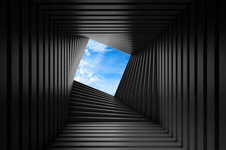 Abstract black twisted tunnel interior with blue sky outside, parametric geometric background. 3d rendering illustration