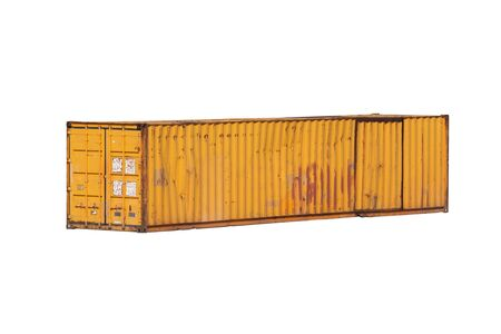 Grungy yellow old cargo container isolated on white background, industrial shipping equipment