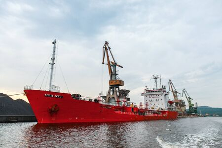 Loading operations of a bulk carrier in port of Varna, Bulgaria