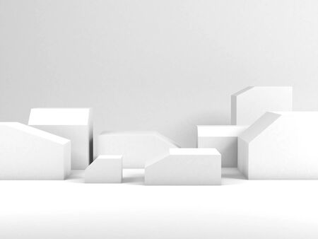 Minimal still life installation, white boxes with beveled edges as empty places for a product representation. 3d rendering illustration