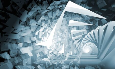 Abstract digital background, blue spiral tunnel made of shining technological chaotic blocks, 3d rendering illustration