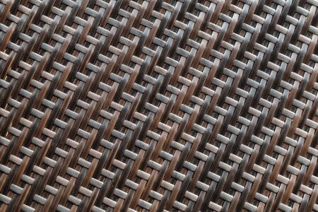 Brown wicker pattern, plastic furniture surface, background photo texture