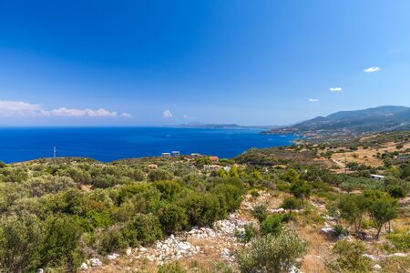 Zakynthos summer landscape, Greek island in the Ionian Sea, popular tourist destination for summer vacation