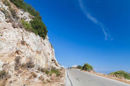 Mountain road of Zakynthos island, Greece. Rural summer landscape Standard-Bild