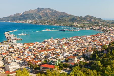 Landscape of Zakynthos island with main harbour. This Greek island in the Ionian Sea is a popular tourist destination for summer vacations Standard-Bild