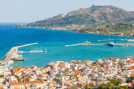 Zakynthos landscape with main city port. This Greek island in the Ionian Sea is a popular tourist destination for summer vacations Standard-Bild