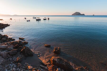 Morning landscape with Zakynthos island coast, Greece. Popular tourist destination for summer vacation Standard-Bild