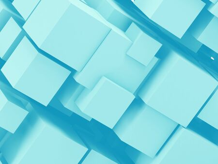 Abstract cgi background with random sized blue cubes. Digital cloudy data storage concept. 3d rendering illustration Standard-Bild