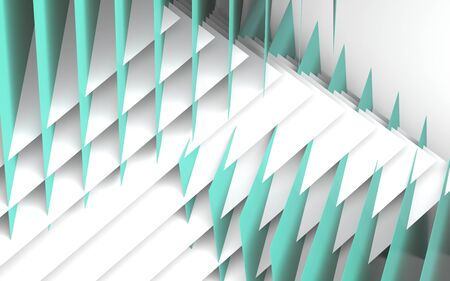 Abstract geometric background, installation of intersected blue and green paper sheets. 3d rendering illustration