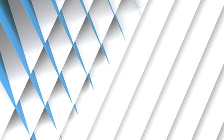 Abstract geometric background, pattern of intersected blue and white paper sheets. 3d rendering illustration