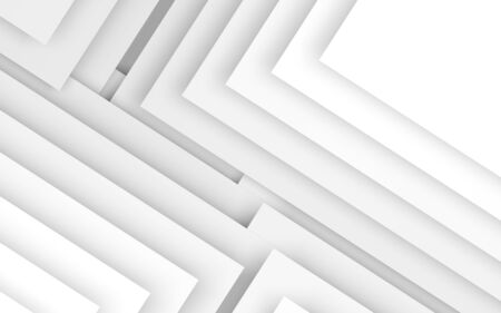 Abstract 3d white background, geometric pattern of blank corners. 3d rendering illustration