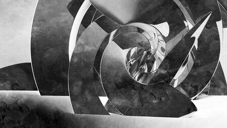 Abstract cgi with dark spiral installation