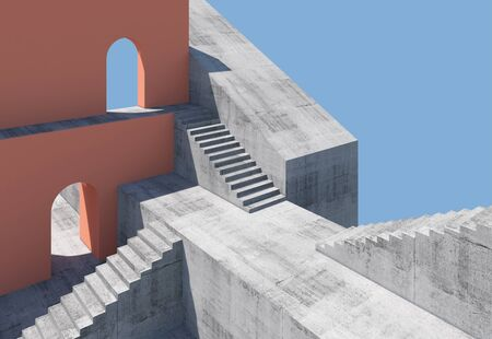 Abstract minimal architectural background with concrete stairs and red walls with empty arches, 3d rendering illustration Standard-Bild