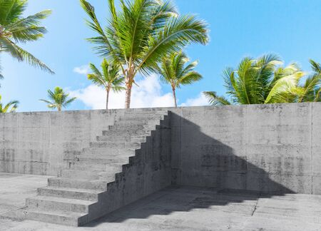 Concrete stairs goes up on the wall with palm trees behind, mixed media with 3d rendering illustration Standard-Bild