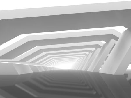 Abstract digital background with empty white endless tunnel perspective. 3d rendering illustration Standard-Bild