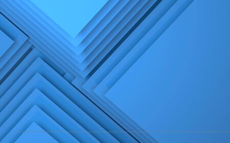 Abstract 3d blue background, geometric pattern of blank corners. 3d rendering illustration