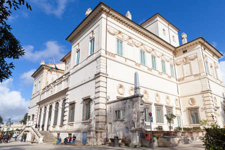 Rome, Italy - February 13, 2016: Tourists are near the entrance to the Galleria Borghese at sunny day