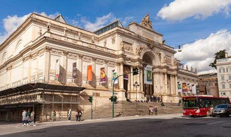 Rome, Italy - February 13, 2016: Ordinary people are near The Palazzo delle Esposizioni, a neoclassical exhibition hall, cultural center and museum on Via Nazionale in Rome Editorial