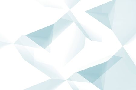 Abstract digital background, blue and white high-tech polygonal pattern. Computer graphic template, 3d rendering illustration