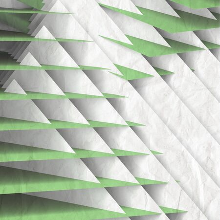 Abstract geometric background, pattern of intersected green white paper sheets. 3d rendering illustration