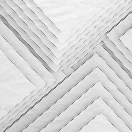 Abstract white background, geometric pattern of right angle corners over paper texture. Square 3d rendering illustration