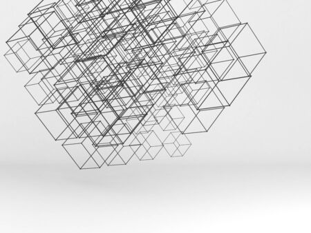 Random sized wire-frame cubes mesh over white background. Abstract high-tech installation. . Digital cloudy data storage concept. 3d rendering illustration