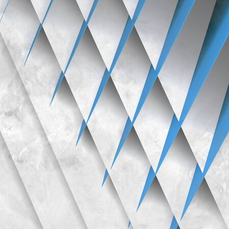 Abstract geometric background, pattern of intersected blue white paper sheets. 3d rendering illustration Standard-Bild