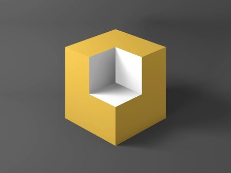 Abstract still life installation, yellow cube with blank white section. 3d rendering illustration