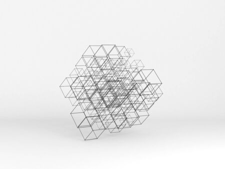 Abstract high-tech installation of random sized wire-frame cubes over white background. Digital cloudy data storage concept. 3d rendering illustration Standard-Bild