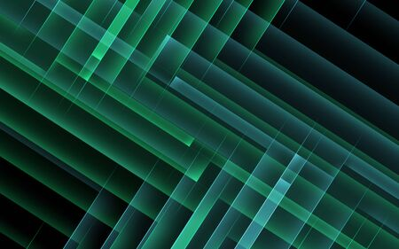 Abstract dark cgi background, geometric pattern of green right angle corners. 3d rendering illustration