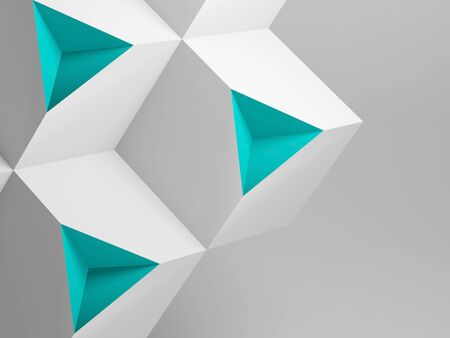 Abstract minimal installation, white cubes with green pyramid shaped sections. Standard-Bild