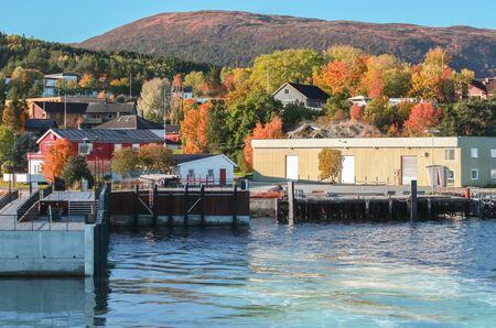 Coastal landscape with ferry pier of Lensvik harbor, Norway