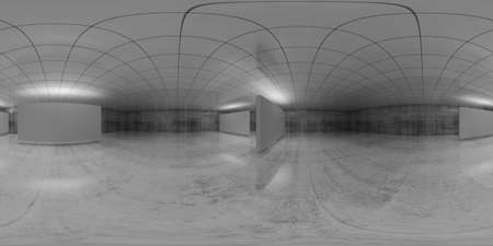360 degree spherical vr panorama. Abstract empty white interior with stands installation, HDRI seamless environment map of an exhibition gallery with walls made of concrete. 3d render illustration
