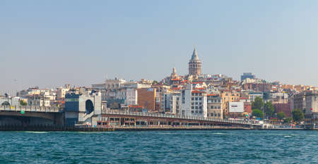 Istanbul, Turkey - July 1, 2016: Istanbul cityscape at sunny day with Galata bridge and  Galata tower on a background