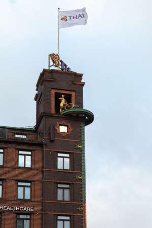 Copenhagen, Denmark - December 9, 2017: Radhuspladsen 16 exterior with advertising and an outdoor thermometer
