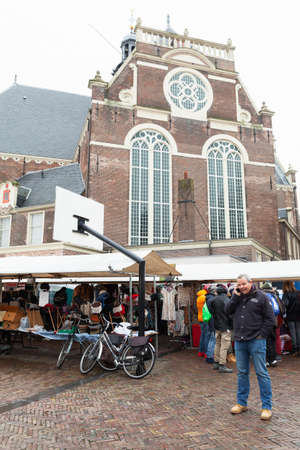 Amsterdam, Netherlands - February 25, 2017: Marketplace Noordermarkt view with ordinary people Editorial