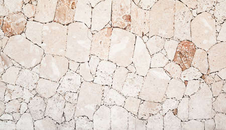 Wall made of shelly limestone, it is a highly fossiliferous stone, composed of a number of fossilized organisms. Background texture, front view